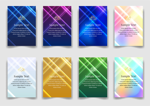 Colorful linear cross pattern abstract background set portrait