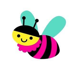 粉紅色的蜜蜂飛