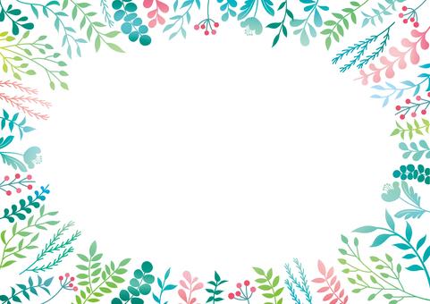 やさしいカラーの草花のフレーム