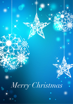 Christmas _ Blue background _ Vertical type