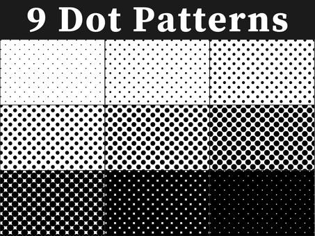Set of 9 dot patterns