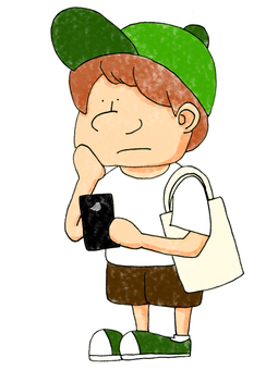 Young man looking at a smartphone on the go