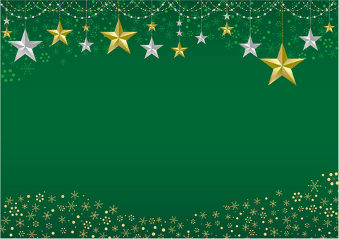 Star ornament frame green background