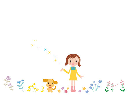 Flower field and girl · dog