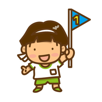 Illustration of a boy with a flag