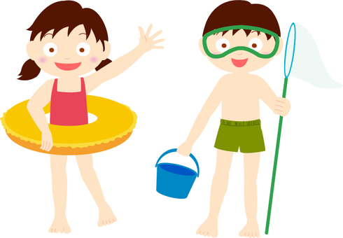 Sea bathing girl and child line No