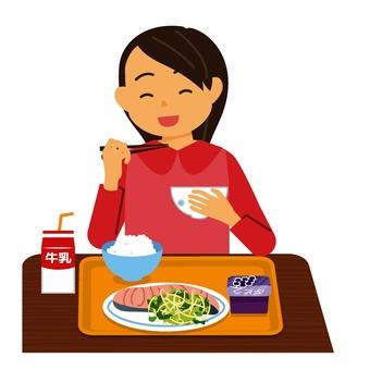 Girl eating school lunch