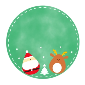 Circular background with Santa and reindeer 2