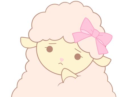 ピンクのひつじちゃん(考えるA)