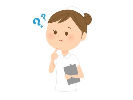 모르는 간호사 복장의 여성