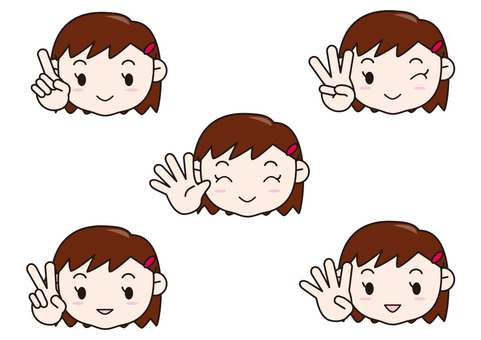 Girls with fingers 1 to 5