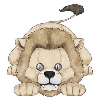 Male lion animal stuffed toy illustration