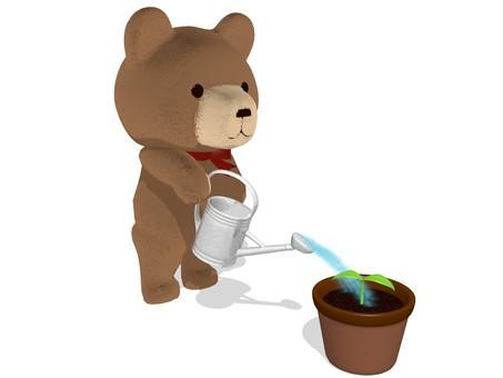 Teddy bear · watering