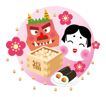 Image of demon and Otofuku of Setsubun