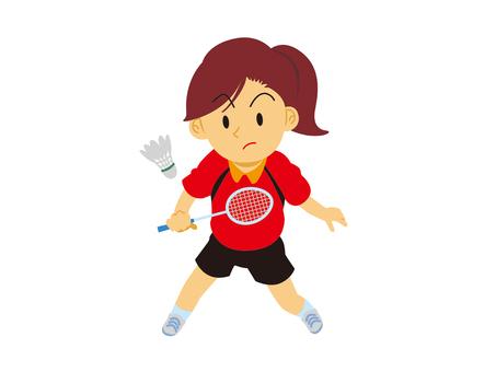 打羽毛球的女孩