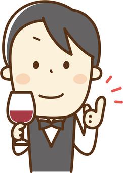 Sommelier men with wine glasses