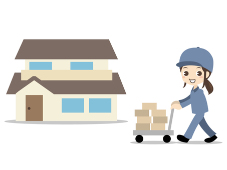 B012_ delivery woman and house
