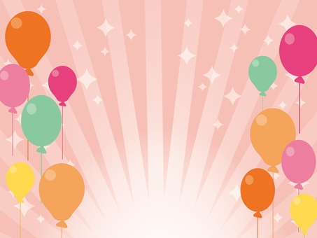 Background material pink with balloons and concentration lines