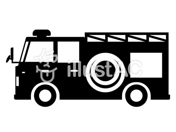 消防車 シルエットイラスト No 1049155無料イラストならイラストac