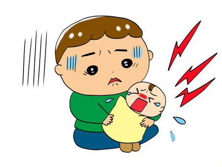 Father and baby child rearing fatigue