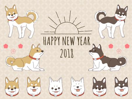 2018 Year-year illustration set
