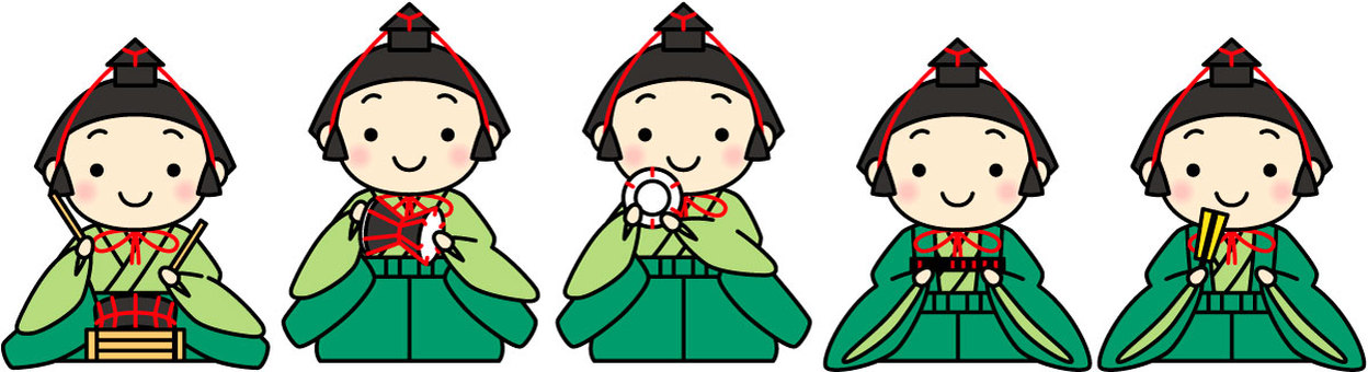 Five of the hina dolls