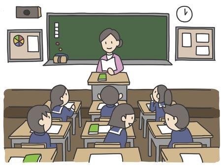與老師和學生的教室