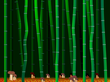 Bamboo groves falling red leaves