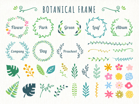 Green and floral decorative frame set