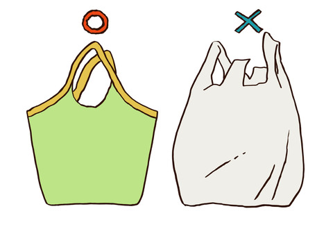 Eco bags and plastic bags 1