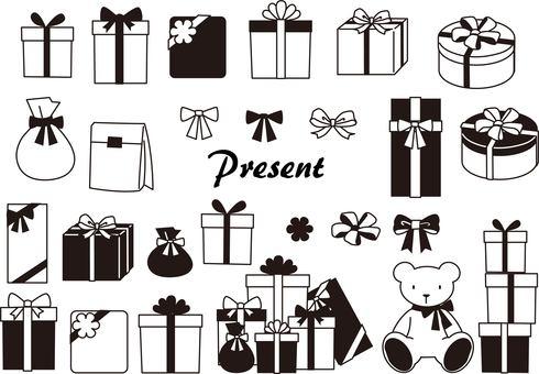 Cute presents monochrome black and white