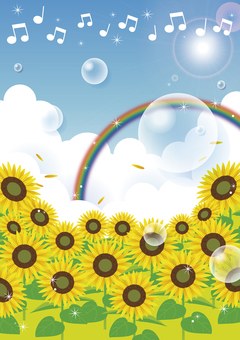 Sunflowers and soap bubbles