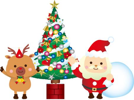 Santa and reindeer and Christmas tree