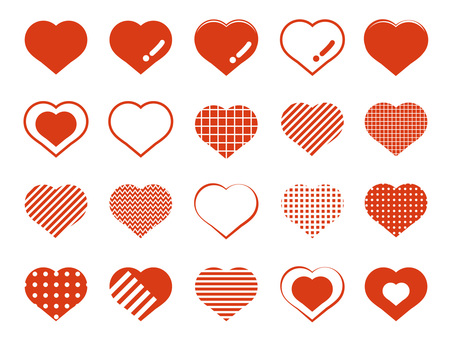 Simple various heart icons