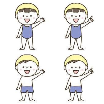 수영복을 입은 귀여운 아이 세트 / 수영