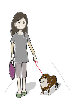 Woman - a walk with a dog
