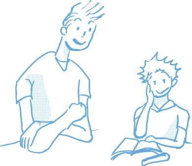 Mono-colored _ hand-drawn family study _