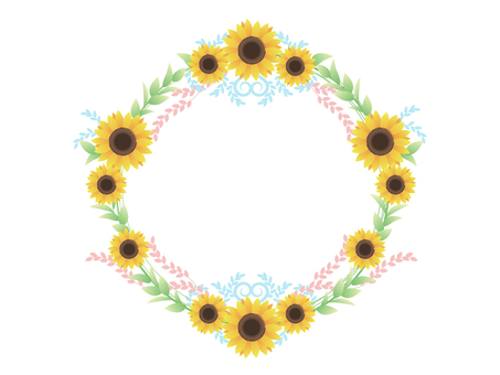 Sunflower round frame