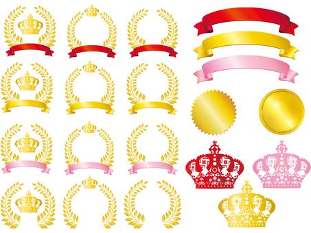Crown Ribbon Frame Frame background Ribbon golden pink