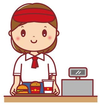 Hamburger shop clerk woman upper body