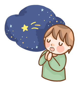 A man wishing a shooting star