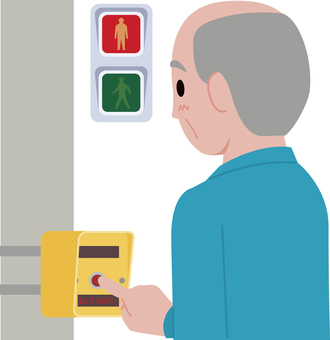 Elderly person pushing button on push button type traffic light