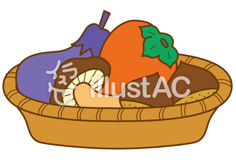 秋の果物野菜4cのイラスト