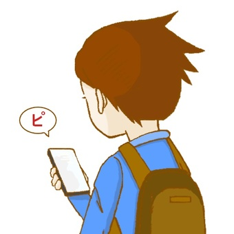 A boy touching a smartphone.