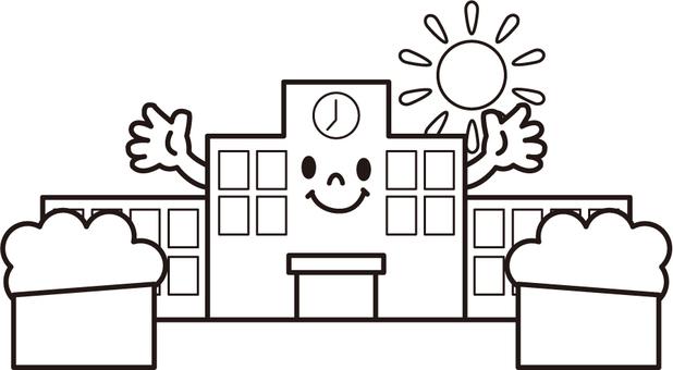 学校 モノクロ 顔つき
