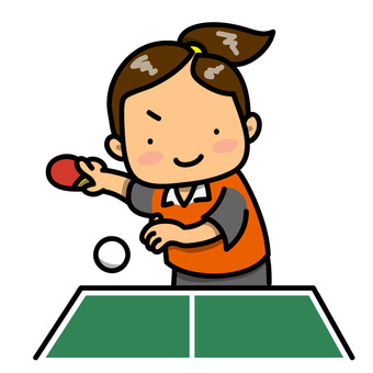 Girl playing table tennis (with table tennis table)