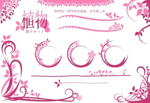 식물 장식 세트 (핑크)