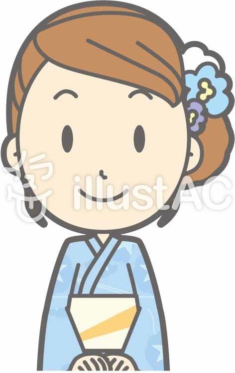 浴衣女性a-正座笑顔-バストのイラスト