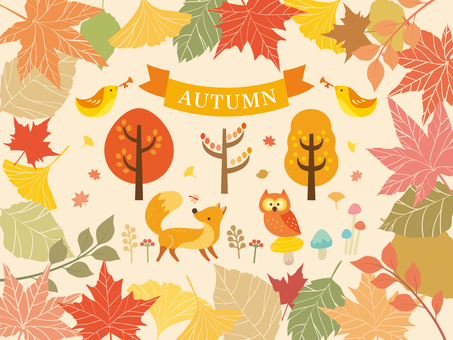 Illustration collection of autumn forest