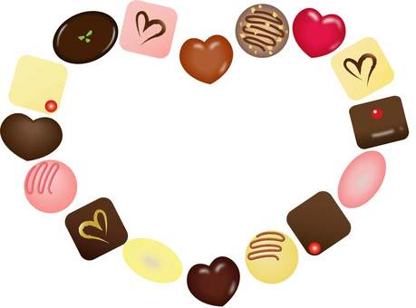 Bonbon chocolate heart frame